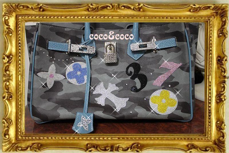 画像2: 【オーダー】カスタマイズキラキラ迷彩デコバーキン風バッグ