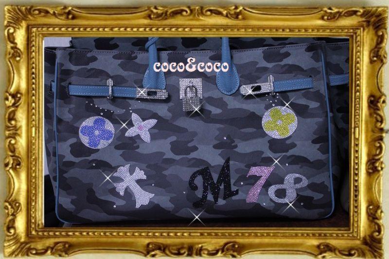 画像4: 【オーダー】カスタマイズキラキラ迷彩デコバーキン風バッグ