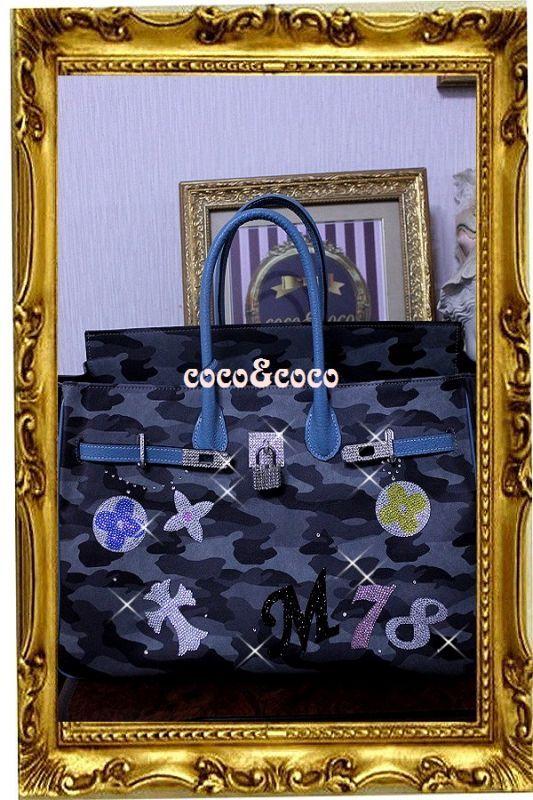 画像5: 【オーダー】カスタマイズキラキラ迷彩デコバーキン風バッグ