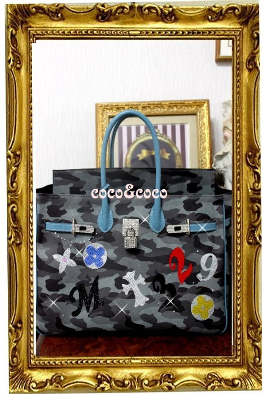 画像1: 【オーダー】カスタマイズキラキラ迷彩デコバーキン風バッグ