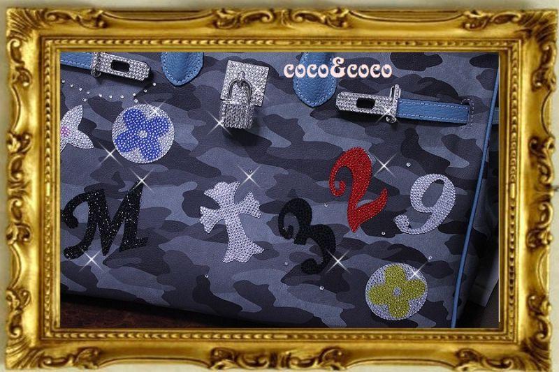 画像3: 【オーダー】カスタマイズキラキラ迷彩デコバーキン風バッグ