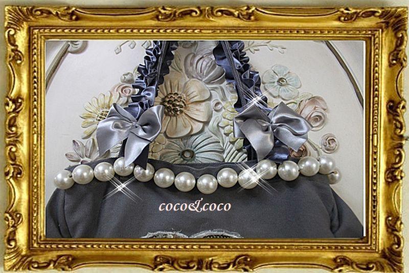 画像3: カスタマイズ可能【New】帆布coco&coco オリジナルスパンコールカメリアパール フリル&フリルトートバッグ グレー