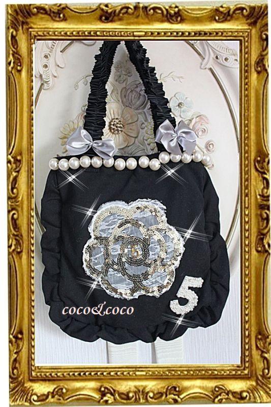 画像1: 【New】帆布coco&coco オリジナルスパンコールカメリアパール フリル&フリルトートバッグ 黒