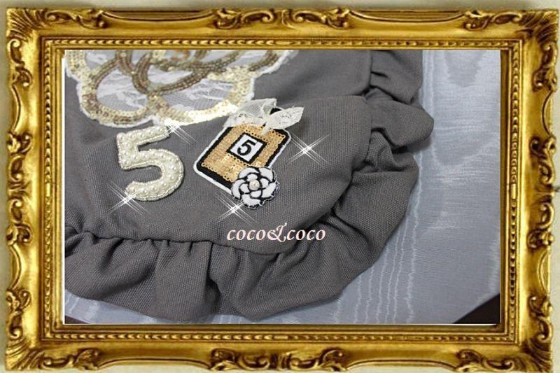 画像4: カスタマイズ可能【New】帆布coco&coco オリジナルスパンコールカメリアパール フリル&フリルトートバッグ グレー