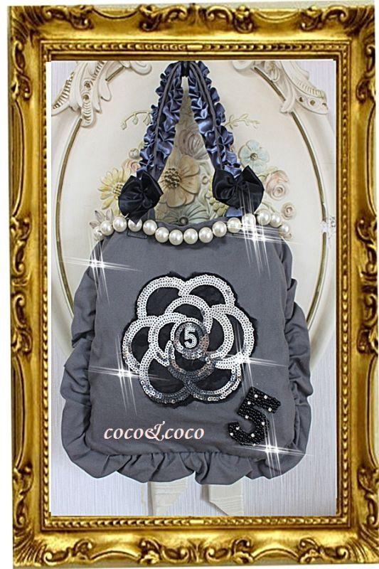 画像5: 【New】帆布coco&coco オリジナルスパンコールカメリアパール フリル&フリルトートバッグ グレー