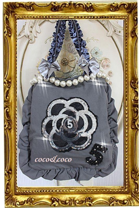 画像1: 【New】帆布coco&coco オリジナルスパンコールカメリアパール フリル&フリルトートバッグ グレー