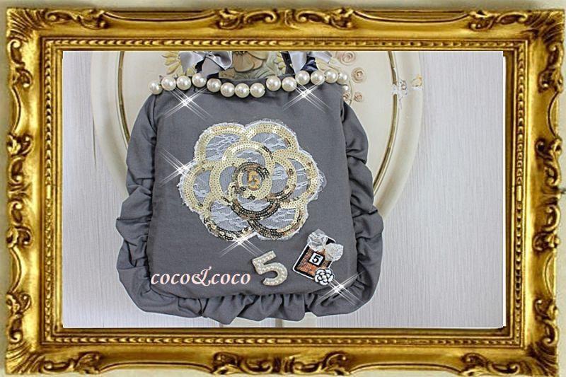 画像2: カスタマイズ可能【New】帆布coco&coco オリジナルスパンコールカメリアパール フリル&フリルトートバッグ グレー