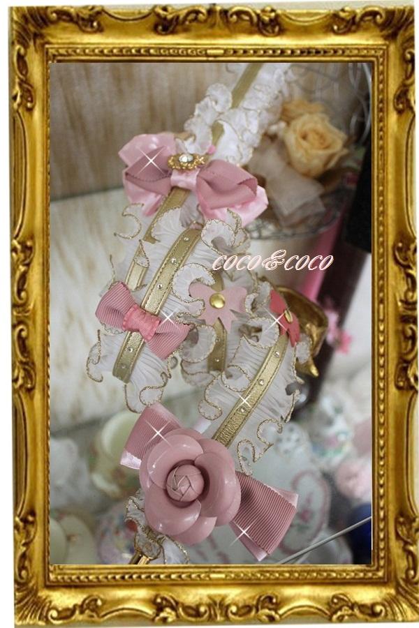 画像3: 【限定New】プリーツギャザレース GOLD&PINKりぼんカメリアリード りりィちゃんモデル