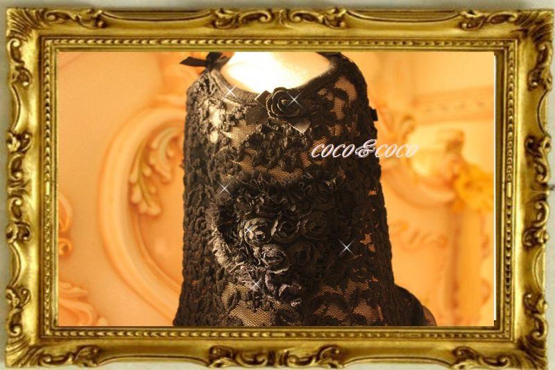 画像2: 【豪華新作】チュールレースROSE&ROSEドレスワンピース れんげちゃんモデル