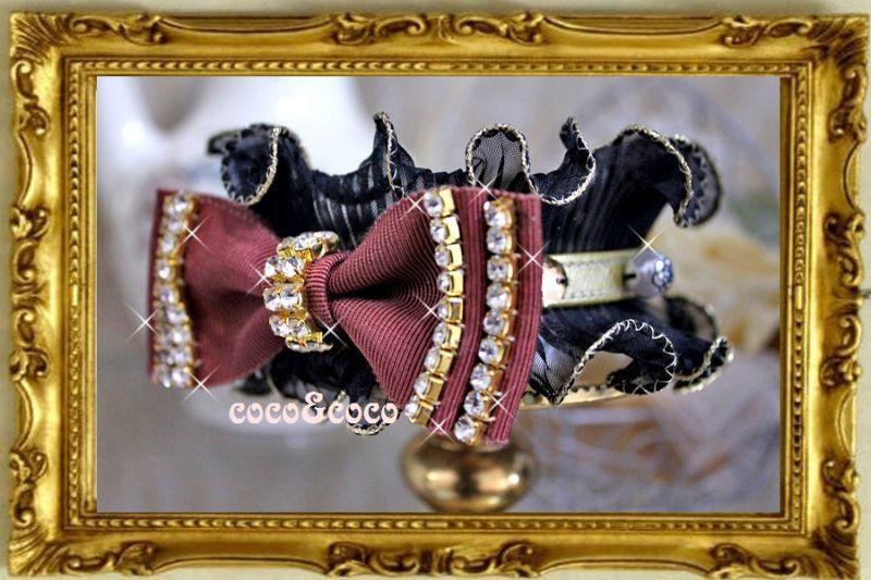 画像2: 【超限定New】ラインストーンりぼんビジュー プリーツフリルカラーチョコ