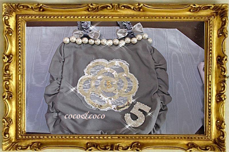画像3: 【New】帆布coco&coco オリジナルスパンコールカメリアパール フリル&フリルトートバッグ グレー
