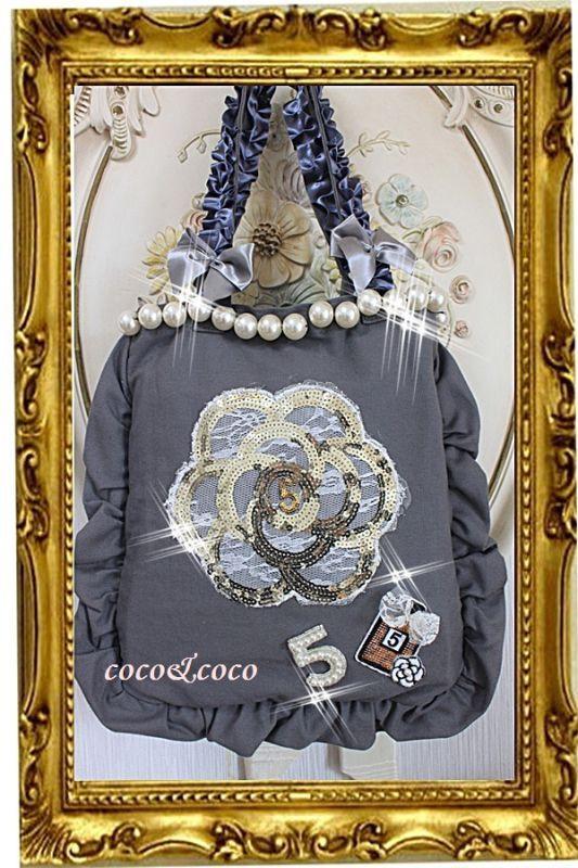 画像1: カスタマイズ可能【New】帆布coco&coco オリジナルスパンコールカメリアパール フリル&フリルトートバッグ グレー
