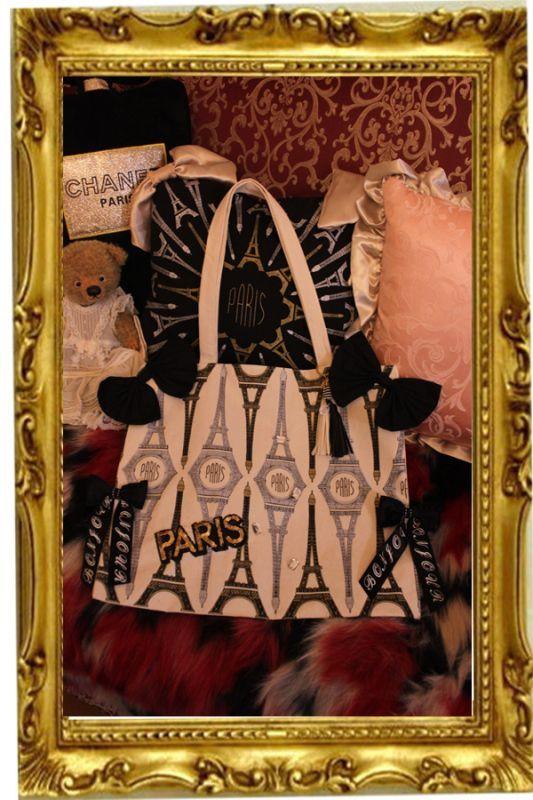 画像1: 再入荷【New】帆布 paris直輸入 エッフェル塔 リボントートバッグ paris奇跡のメダイユチャーム付き