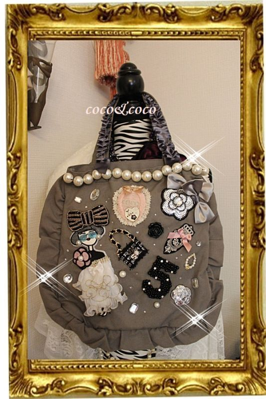 画像1: 【New】送料込帆布coco&coco プリンセスコレクション 大粒パール付き フリル&フリルトートバッグ