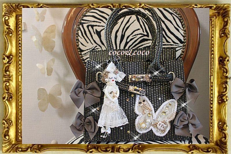 画像1: 【限定新作】セレブご用達カゴバーキン風蝶々モチーフ cocodoll ツイリー付きデコバッグ